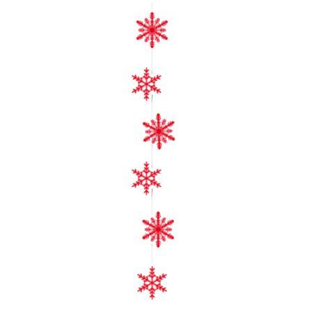 Χριστουγεννιάτικη χάρτινη γιρλάντα με νιφάδες Κόκκινες 108x15cm