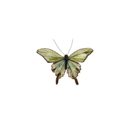 Διακοσμητική πεταλούδα deluxe με κλιπ Πράσινη - Κίτρινη 12cm
