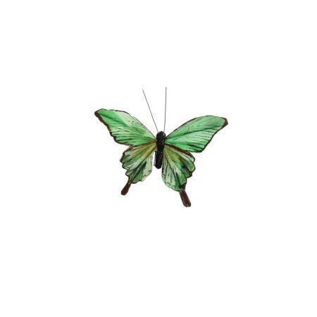 Διακοσμητική πεταλούδα deluxe με κλιπ Πράσινη - Μπλε 12cm
