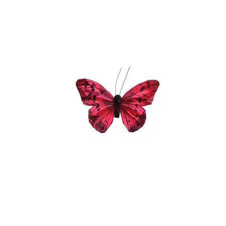 Διακοσμητική πεταλούδα με κλιπ Κόκκινη 10cm
