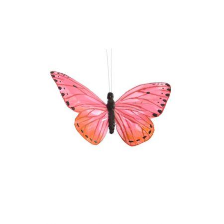 Διακοσμητική πεταλούδα με κλιπ Ροζ 20cm