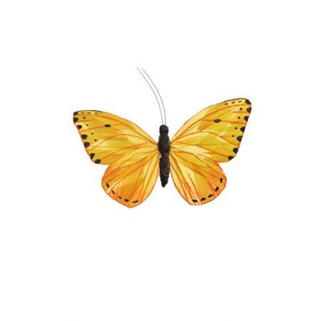 Διακοσμητική πεταλούδα με κλιπ Κίτρινη 20cm