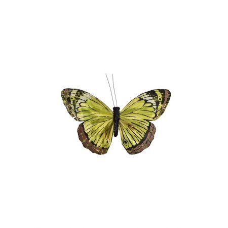 Διακοσμητική πεταλούδα με κλιπ Πράσινη 17cm