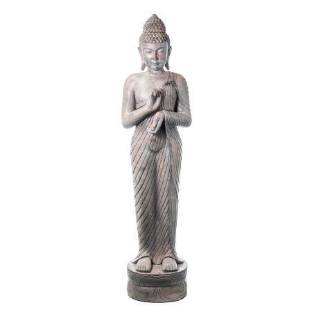Διακοσμητικό Άγαλμα Βούδας fiberglass σε όρθια στάση Γκρι - Μπεζ 39,5x32x155cm