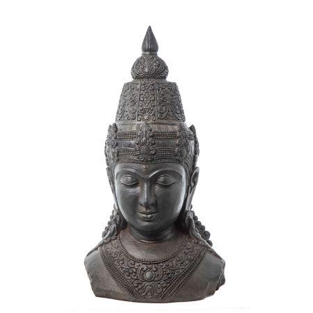Διακοσμητικό Κεφάλι Βούδα fiberglass Ανθρακί 59x41x107cm