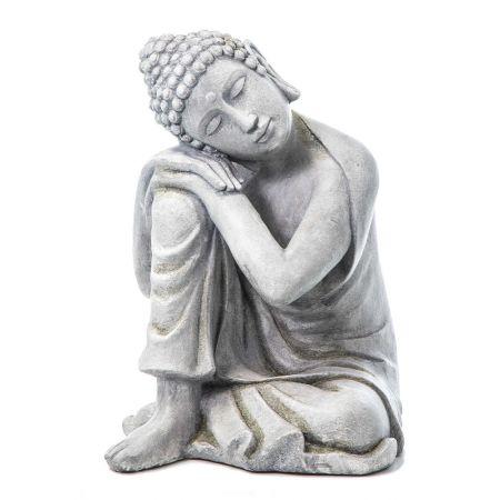Διακοσμητικό αγαλματίδιο Βούδας Fiberglass Γκρι 48x45x58,5cm