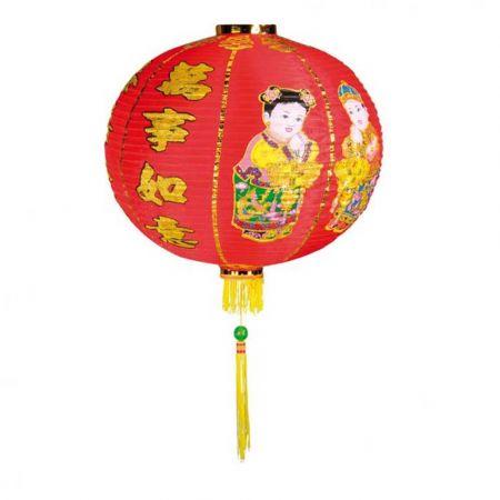 Διακοσμητικό Κινέζικο υφασμάτινο φαναράκι Κόκκινο με σχέδια 36x30cm