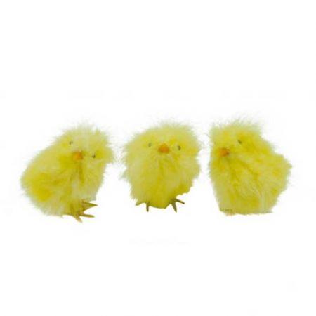 Σετ 3τχ διακοσμητικά κοτοπουλάκια Κίτρινα 12cm