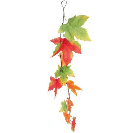 Διακοσμητική γιρλάντα με φύλλα Σφενδάμου Πράσινο - Πορτοκαλί - Κόκκινο 150cm