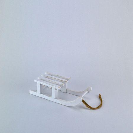 Διακοσμητικό έλκηθρο λευκό, 20cm