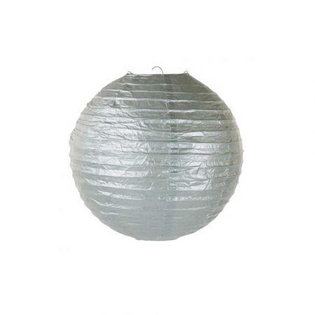 Διακοσμητικό φανάρι - μπάλα Ασημί 30cm