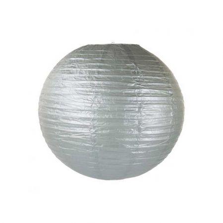 Διακοσμητικό φανάρι - μπάλα Ασημί 60cm