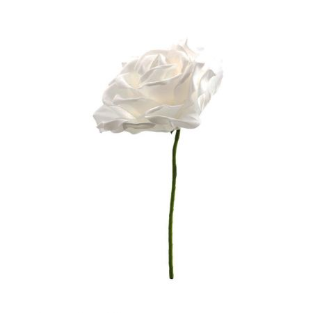 XL Διακοσμητικό άνθος τριαντάφυλλου foam Λευκό 30cm