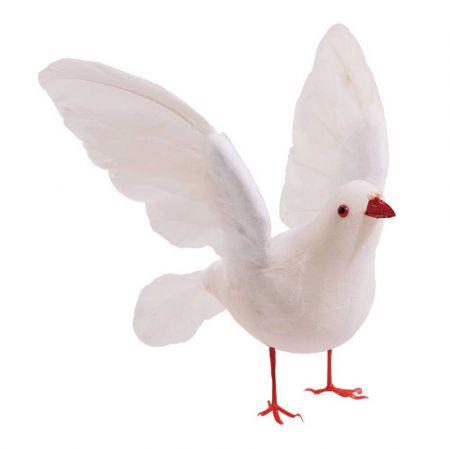 Διακοσμητικό περιστέρι με ανοιγμένα φτερά Λευκό 30x40x22cm