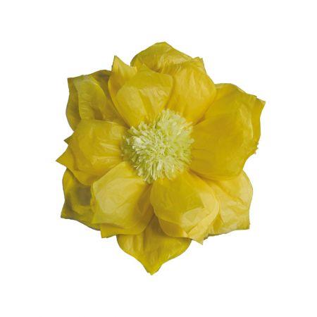 XL διακοσμητικό Χάρτινο άνθος Κίτρινο 60cm