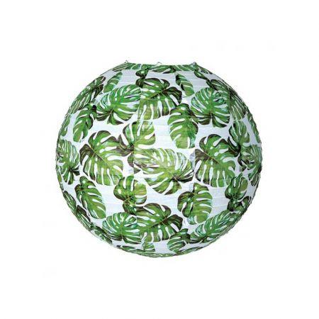 Διακοσμητικό φανάρι - μπάλα Λευκό με φύλλα μοσντέρα 60cm