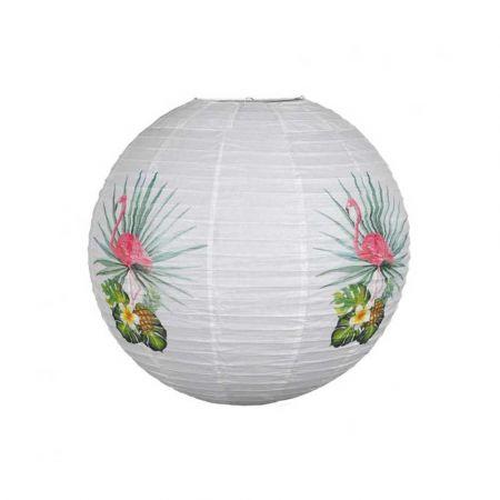 Διακοσμητικό φανάρι - μπάλα Λευκό με φλαμίνγκο και εξωτικά φύλλα 60cm
