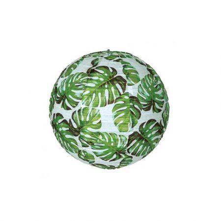 Διακοσμητικό φανάρι - μπάλα Λευκό με φύλλα μονστέρα 30cm