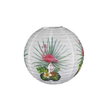 Διακοσμητικό φανάρι - μπάλα Λευκό με φλαμίνγκο και εξωτικά φύλλα 30cm