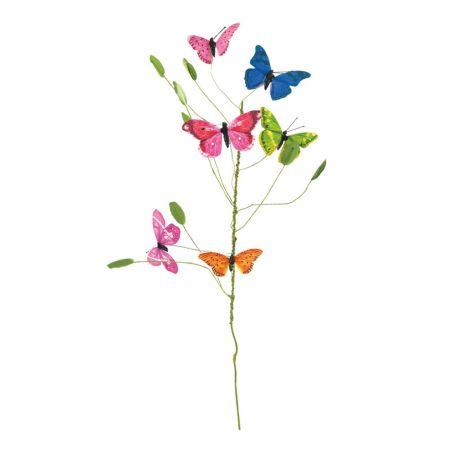 Ανοιξιάτικο κλαδί με 6 πολύχρωμες πεταλούδες 70cm