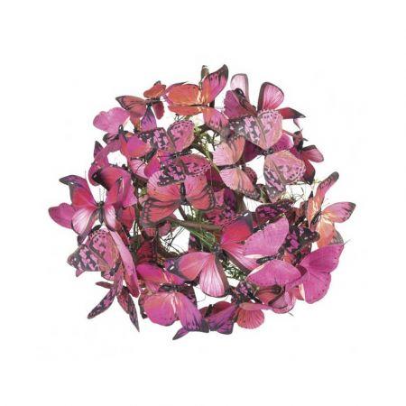 Διακοσμητική μπάλα με Ροζ πεταλούδες 28cm