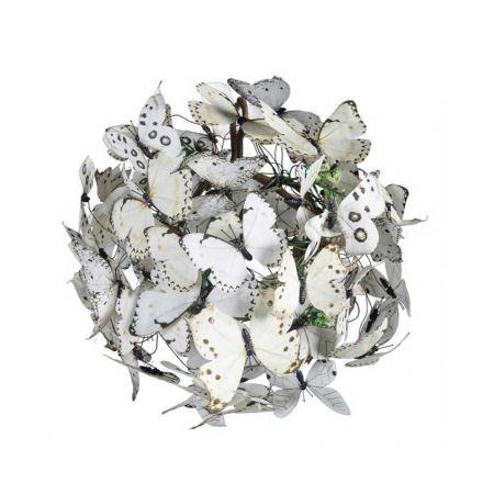 Διακοσμητική μπάλα με Λευκές πεταλούδες 28cm