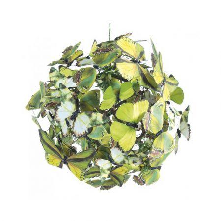Διακοσμητική μπάλα με Πράσινες πεταλούδες 28cm