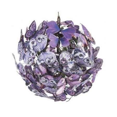 Διακοσμητική μπάλα με Μωβ πεταλούδες 28cm