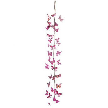 Διακοσμητική γιρλάντα με Ροζ πεταλούδες 150cm