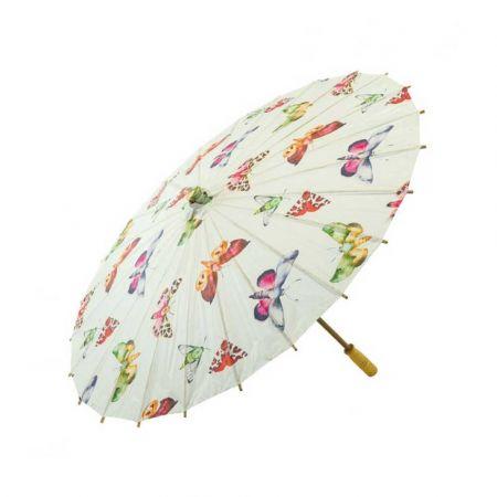 Διακοσμητική Χάρτινη ομπρέλα Λευκή με πεταλούδες 84cm