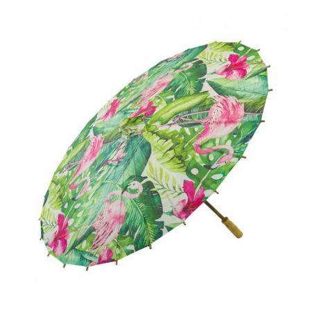 Διακοσμητική Χάρτινη ομπρέλα Πράσινη με φλαμίνγκο 84cm