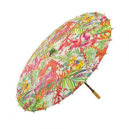 Διακοσμητική Χάρτινη ομπρέλα Ροζ με φλαμίνγκο 84cm