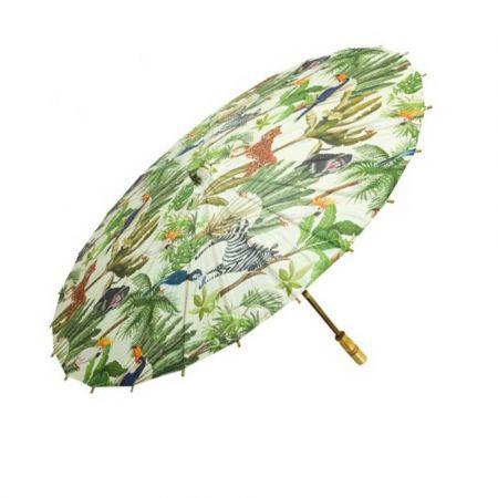 Διακοσμητική Χάρτινη ομπρέλα Πράσινη με ζούγκλα 84cm