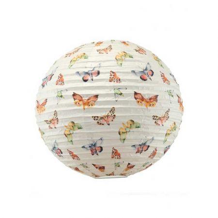 Διακοσμητικό φανάρι - μπάλα Λευκό με πεταλούδες 40cm