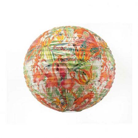 Διακοσμητικό φανάρι - μπάλα Ροζ με φλαμίνγκο 40cm