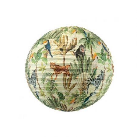 Διακοσμητικό φανάρι - μπάλα Πράσινο με ζούγκλα 40cm