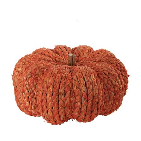 Διακοσμητική πλεκτή κολοκύθα ψάθινη Πορτοκαλί 30x15cm