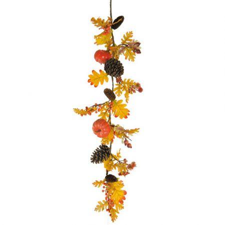 Διακοσμητική γιρλάντα με κουκουνάρια και κολοκύθες Πορτοκαλί 120cm