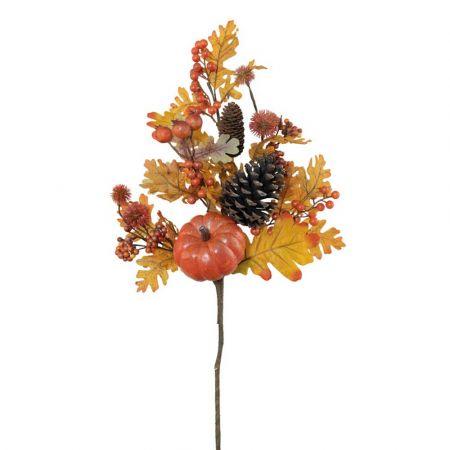 Διακοσμητικό κλαδί με κουκουνάρια και κολοκύθες Πορτοκαλί 60cm