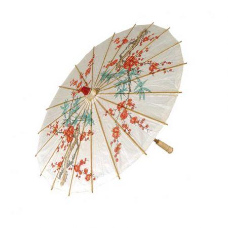 Διακοσμητική Χάρτινη ομπρέλα με Κινέζικα μοτίβα Λευκή 60x70cm