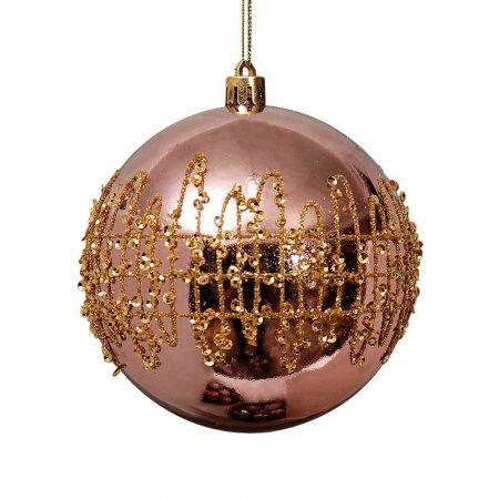 Χριστουγεννιάτικη μπάλα Χάλκινη με glitter 10cm