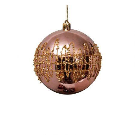 Χριστουγεννιάτικη μπάλα Χάλκινη με glitter 8cm