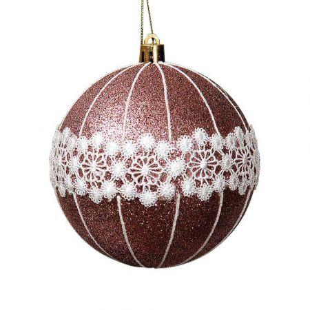 Χριστουγεννιάτικη μπάλα Χάλκινη με glitter και δαντέλα 10cm