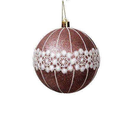 Χριστουγεννιάτικη μπάλα Χάλκινη με glitter και δαντέλα 8cm