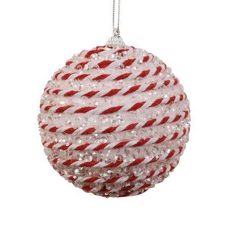 Χριστουγεννιάτικη μπάλα Λευκή - Κόκκινη 10cm