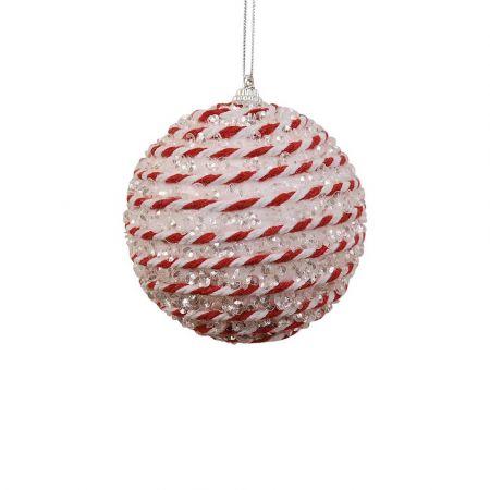 Χριστουγεννιάτικη μπάλα Λευκή - Κόκκινη 8cm