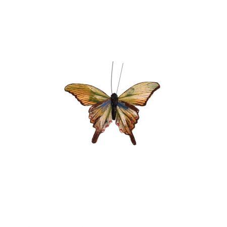 Διακοσμητική πεταλούδα deluxe με κλιπ Πορτοκαλί - Πράσινο 12cm