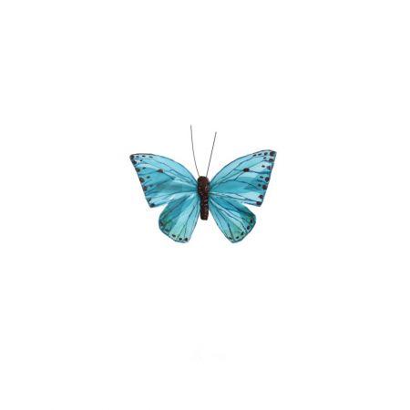 Διακοσμητική πεταλούδα με κλιπ Μπλε 10cm