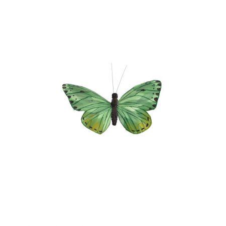 Διακοσμητική πεταλούδα με κλιπ Πράσινη 15cm