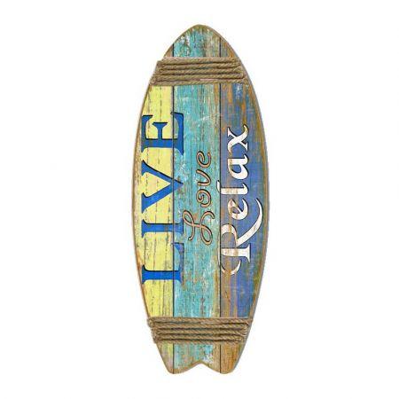 Διακοσμητική σανίδα Surf - Live Love Relax 33x85cm